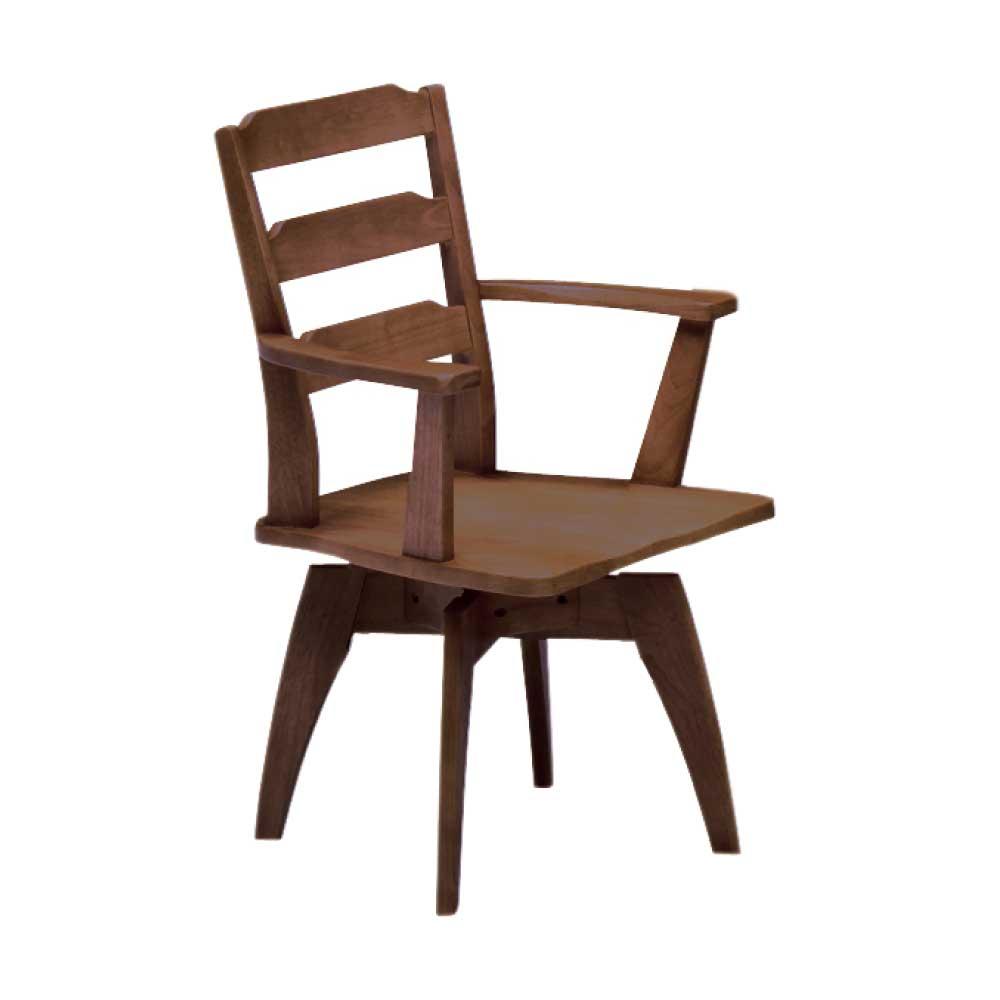 肘付回転食堂椅子 BR w14904